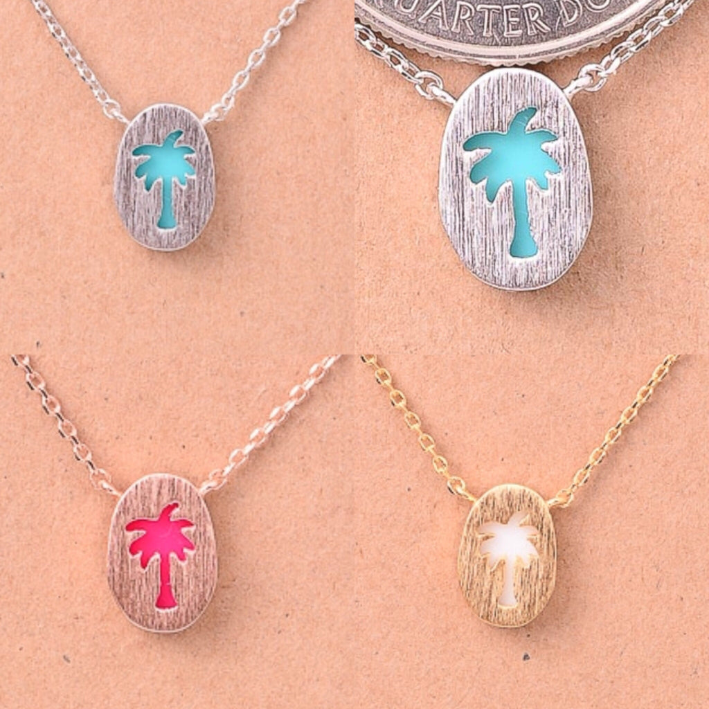 Stone Filled Palm Tree Necklace