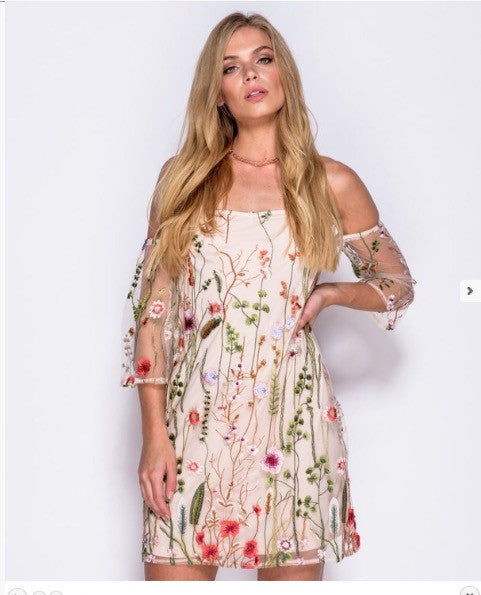 promo codes brand new special section Floral Embroidered Mesh Dress – shopebbo