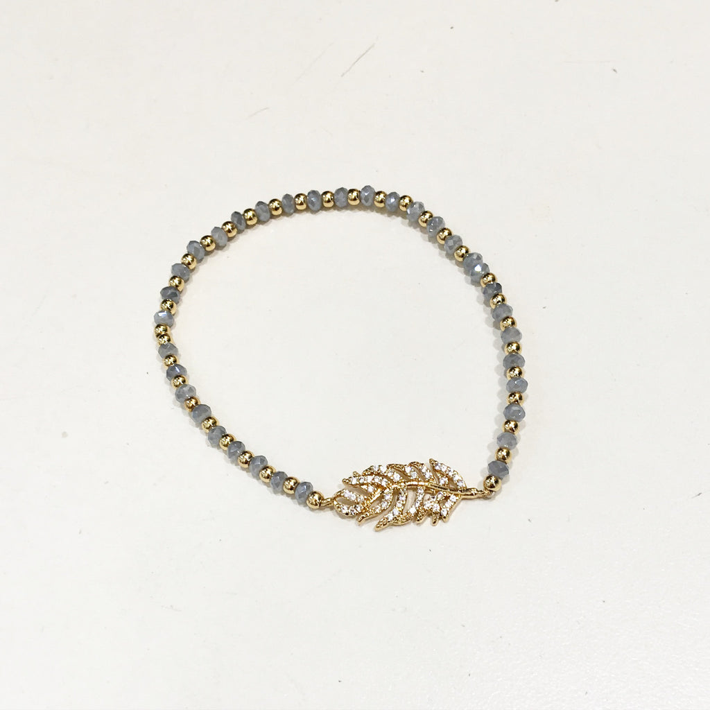 Feather Tiny Beaded Bracelet