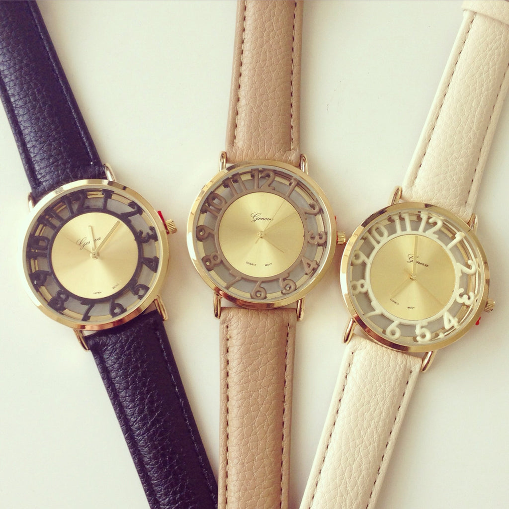Clear Dial Leather Watch