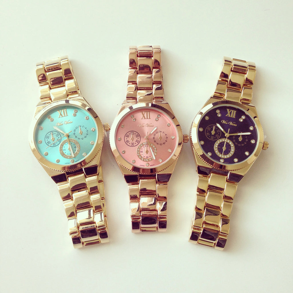 Gorgeous Rhinestone Color Dial Watch