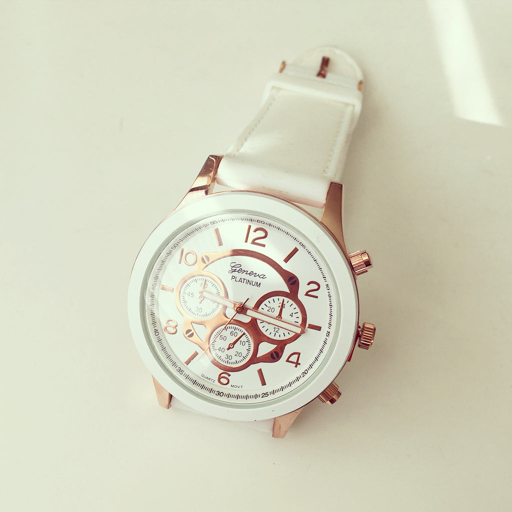 Oversized Dial Rubber Band Watch