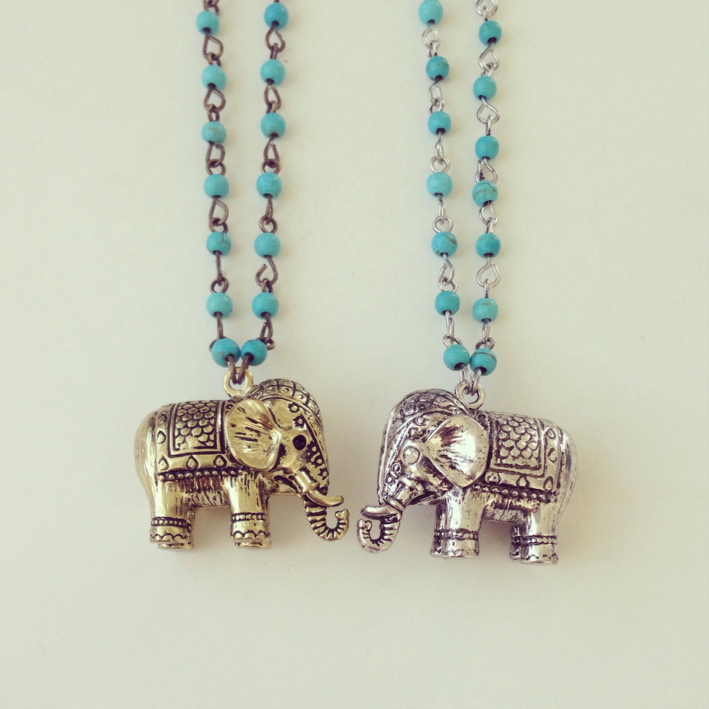 Turquoise Bead Elephant Long Necklace