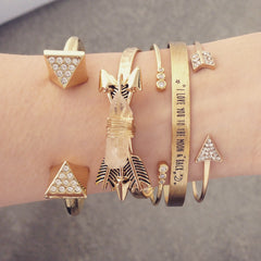 Triangle Spike Rhinestone Bangle