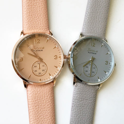 Classic Tiny Rhinestone Leather Watch