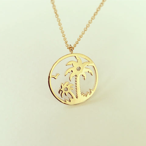 California Palm Tree Coin Necklace