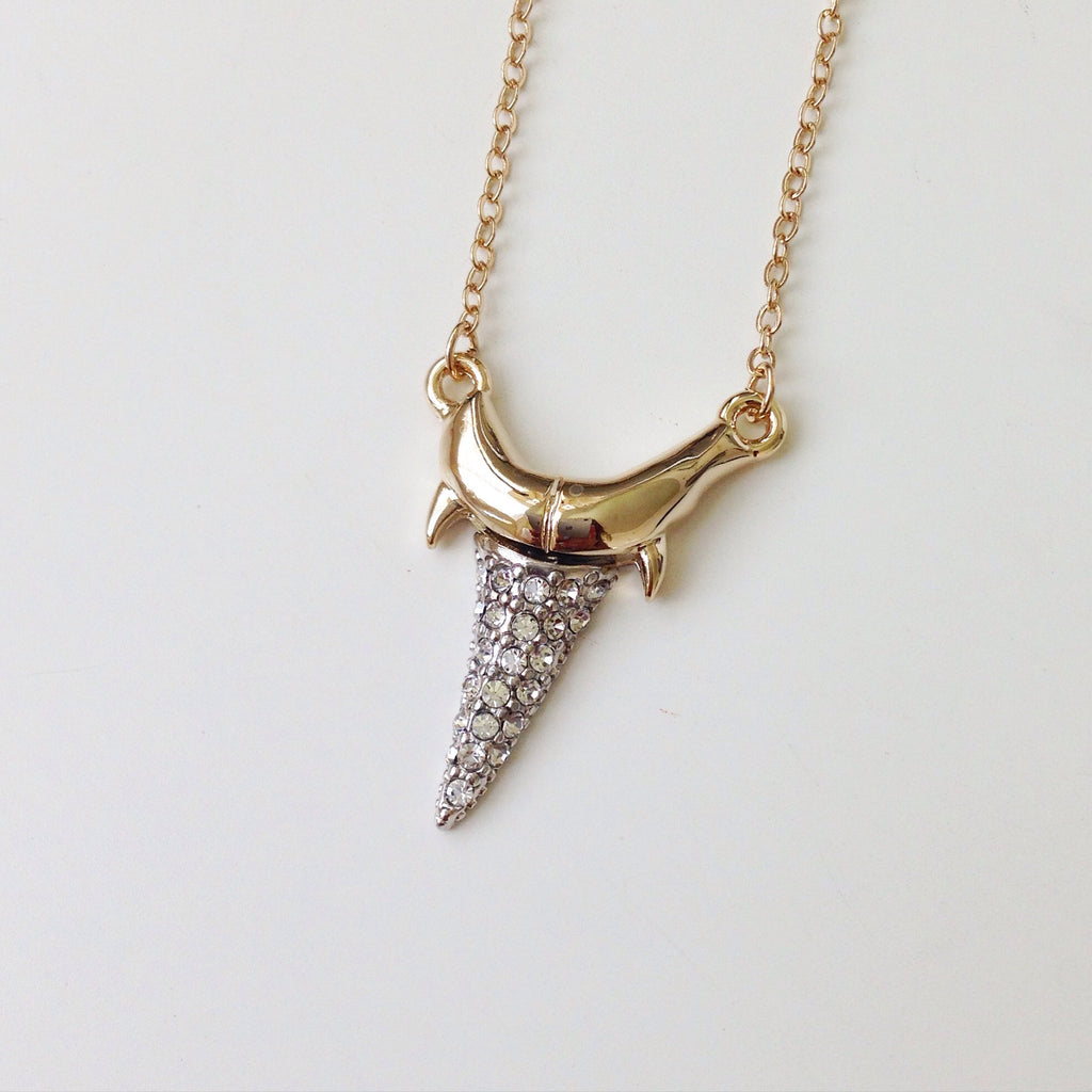 Pave Shark Tooth Necklace