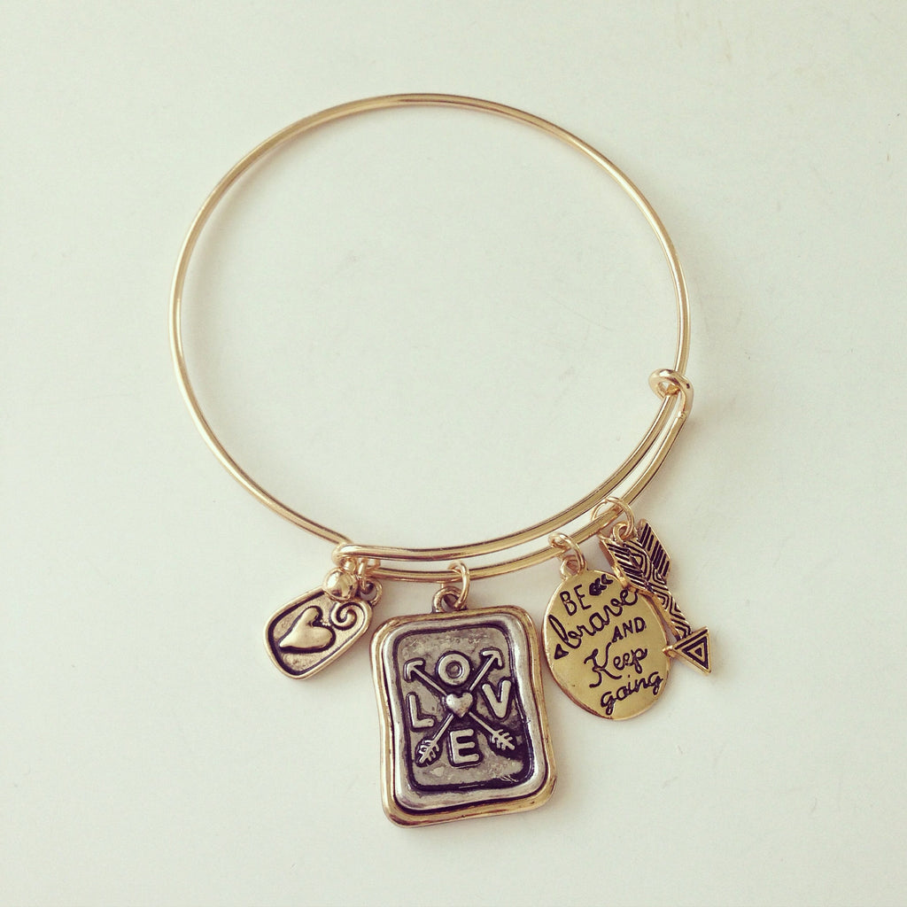 Love Rectangle Antique Charm Bracelet