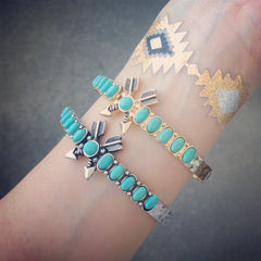 Cross Arrow Turquoise Bangle
