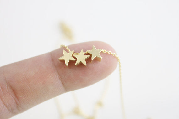 Tiny Three Star Necklace