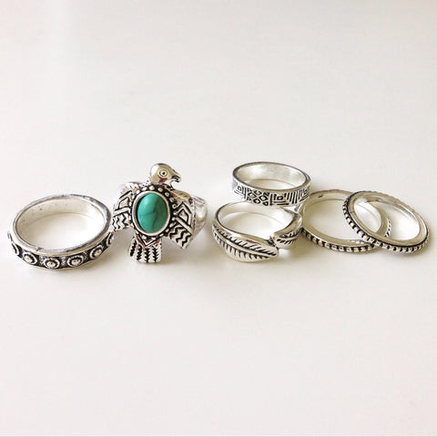 Antique Eagle Silver Ring Set