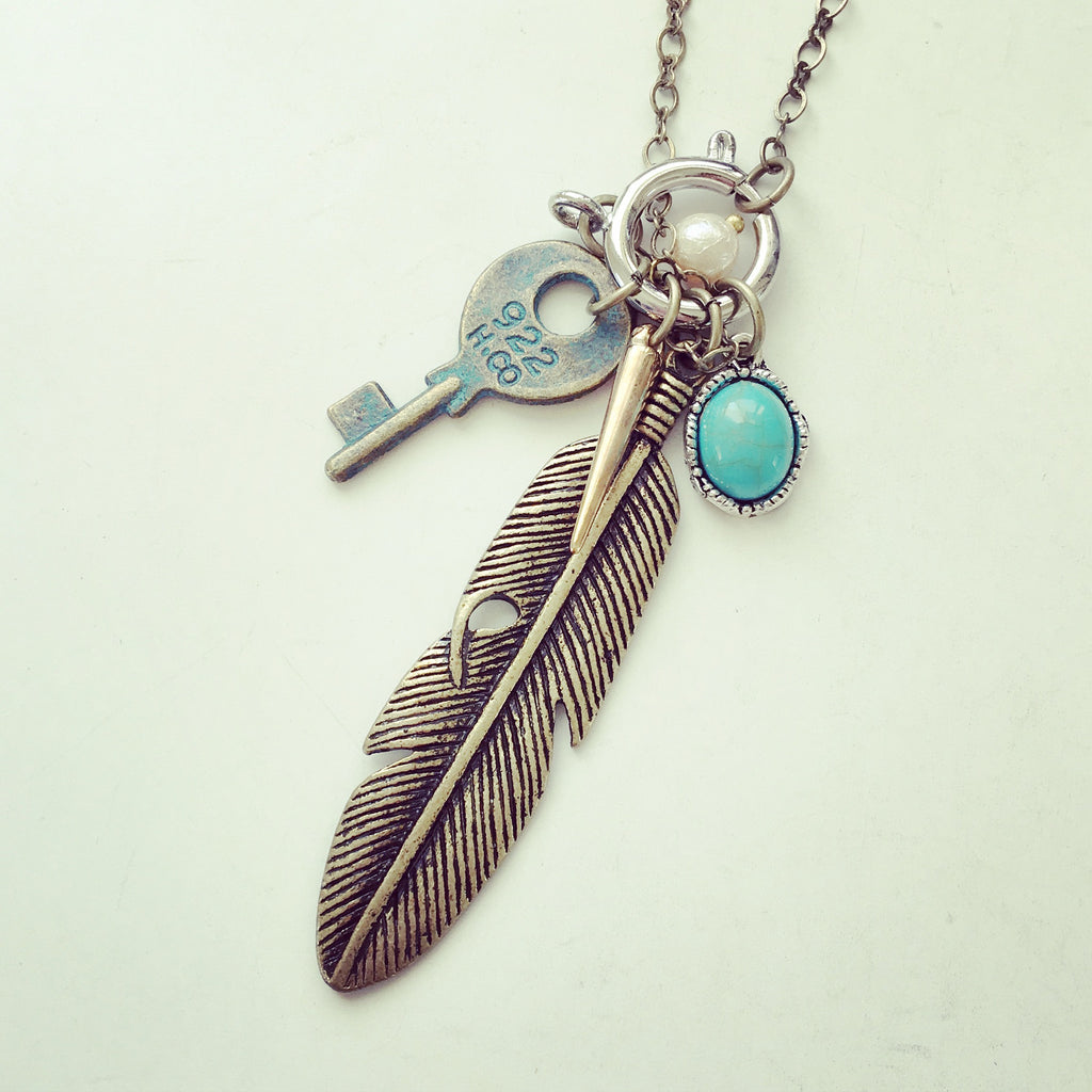 Feather with Key Long Necklace