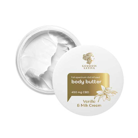 GODDESS SATIVA BODY BUTTER VANILLA MILK CREAM 450 MG CBD