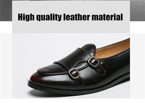 Leather Double Buckles Shoes - Men's Shoes
