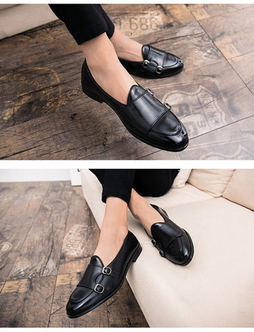 Image of Leather Double Buckles Shoes - Men's Shoes