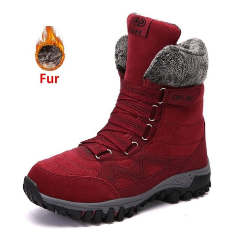 Image of Women's Leather Snow Boots - Men's Shoes