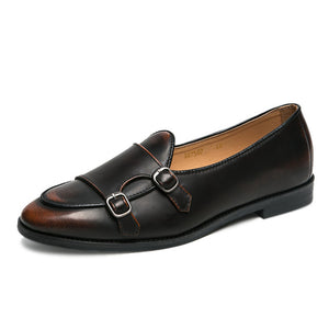 Leather Double Buckles Shoes