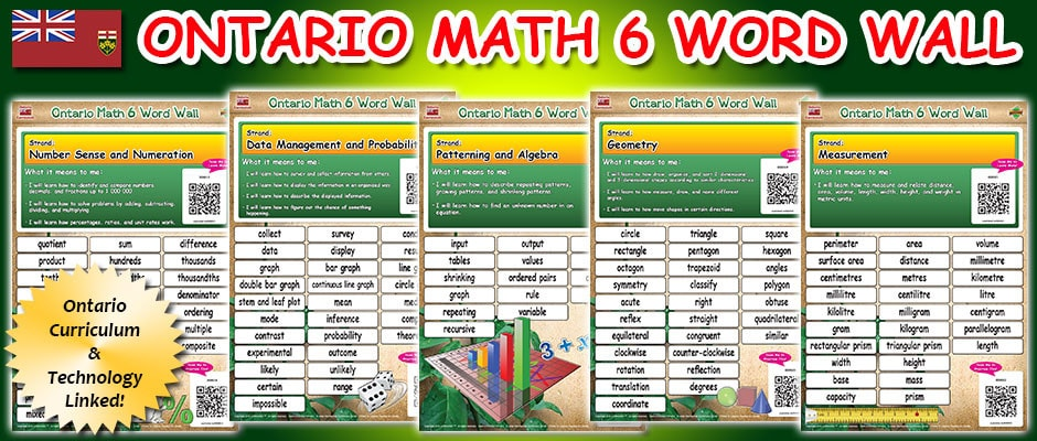 Ontario Math 6 Word Wall