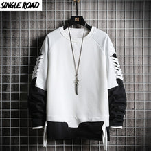 Load image into Gallery viewer, SingleRoad Ripped Crewneck Sweatshirt Men Oversized Streetwear Hip Hop Patchwork Men's Hoodies Sweatshirts Male Tracksuit