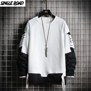 SingleRoad Ripped Crewneck Sweatshirt Men Oversized Streetwear Hip Hop Patchwork Men's Hoodies Sweatshirts Male Tracksuit