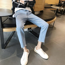 Load image into Gallery viewer, 2020 Ins Korean Bag Jogging Street Sports Mens Jeans For Hombre Men's Blue Nine Pants Casual Cotton Soft Large Size Jeans Men