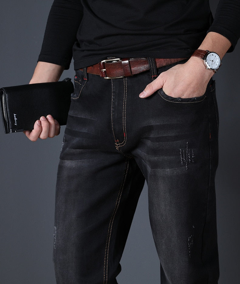 JS526J-2020 summer jeans men's straight fit large mid waist men's jeans elastic simple business pants