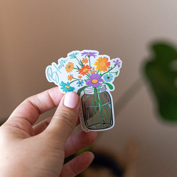 Blooming Mason Jar - Premium Sticker