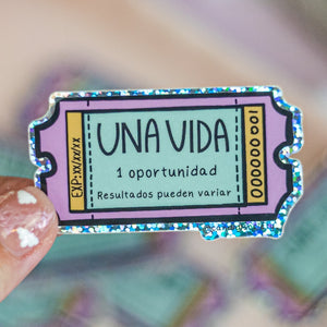 UNA VIDA Ticket - Glitter Sticker