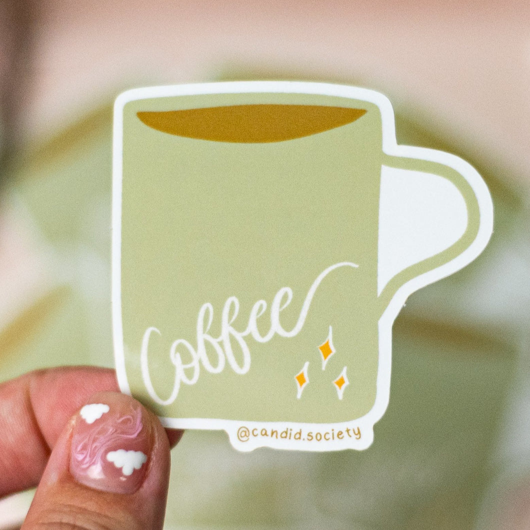 Olive Coffee Cup ✨ - Premium Sticker