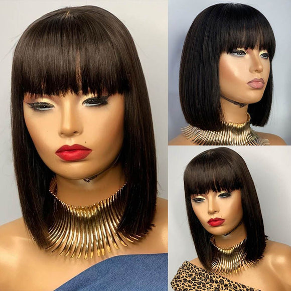 Ombre Highlight Blonde Lace Front Wig with Bangs 150% Density Short Bob Straight 13X4 Remy Brazilian - LUXURY FABULOUS COLLECTION