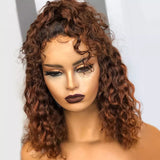 Ombre Color Short Water Wave Bob Lace Front Human Hair Wig Blonde Deep Part 13X6 Curly 150% Density - LUXURY FABULOUS COLLECTION