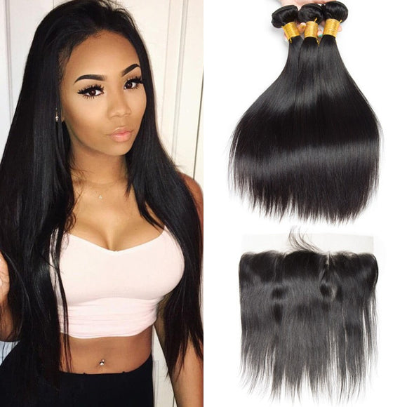 Enerual Beauty Hair 13*4 Transparent Lace Frontal /Medium Brown  Straight With Frontal Brazilian - LUXURY FABULOUS COLLECTION