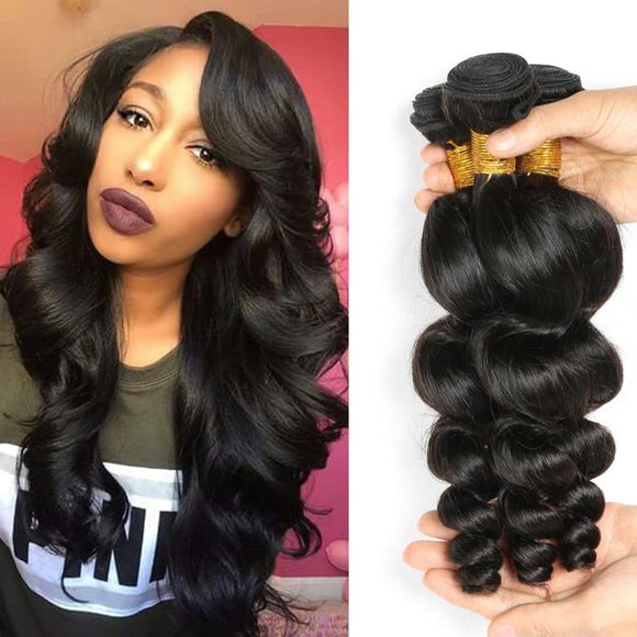 ENERUAL BEAUTY Peruvian Loose Wave Hair Bundles Natural Color 100% Human 8-30