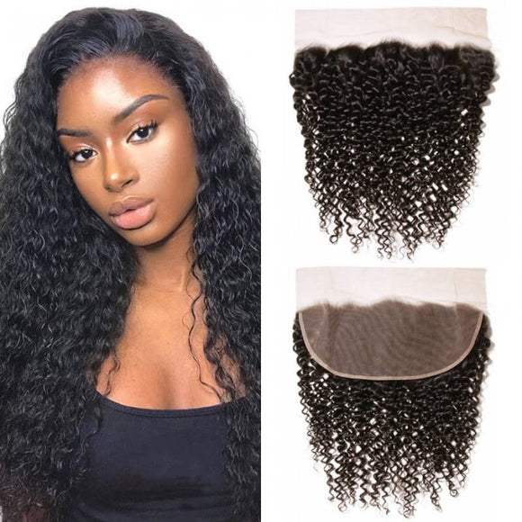 Enerual Beauty Hair 13*6 Transparent Lace Frontal Jerry Curly Human Hair Pre Plucked Brazilian - Enerual Beauty