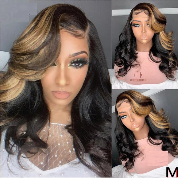 Ombre Highlight Blonde Human Hair Wig 13x4 Lace Front 150% Density Body Wave 360 Wig PrePlucked Remy - LUXURY FABULOUS COLLECTION