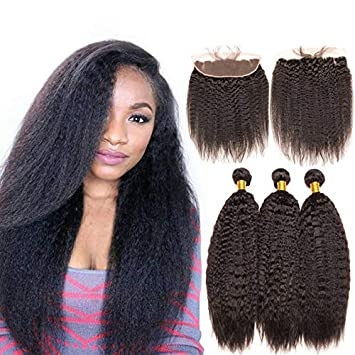 Enerual Beauty Hair Kinky Straight  3 Bundles with 13x6 Transparent Lace Frontal Brazilian - Enerual Beauty