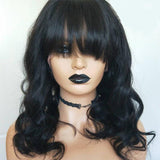 13X6 Lace Front Human Hair Wig With Bangs Glueless Water Wave Short Preplucked Deep Part 150 Density - Enerual Beauty