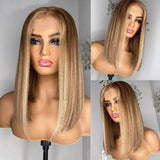 Blonde Highlight Bob Lace Front Wig Deep Part Lace Front Human Hair Wig Natural Color 150% Density - Enerual Beauty