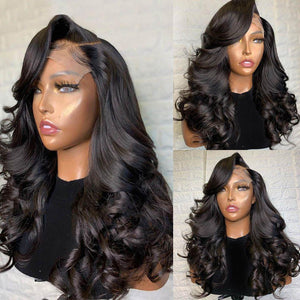 Lace Front Human Hair Wigs Wavy Lace Front Wig Dark Root Lace Frontal Wig Natural Color 150% Density - LUXURY FABULOUS COLLECTION