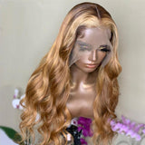 Ombre Blonde Lace Front Human Hair Wig 150% Density Water Wave Wig Highlight Blonde Wig Pre Plucked - LUXURY FABULOUS COLLECTION