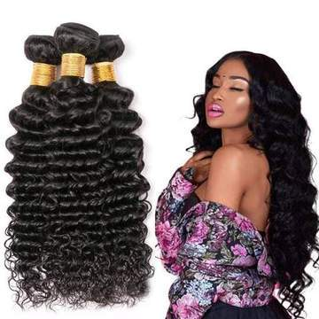 ENERUAL BEAUTY Peruvian Deep Wave Hair Bundles Natural Color 100% Human hair 8-30