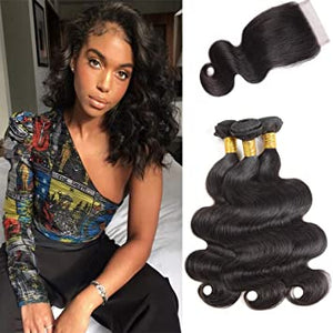 Enerual Beauty Hair Body Wave 5X5 Transparent Lace Closure/Medium Brown Hair Bundles With Closure - Enerual Beauty