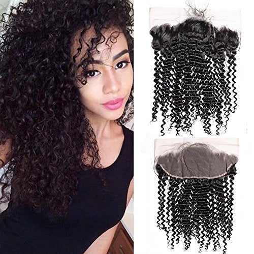 Enerual Beauty Hair Frontal 13*4 Lace Frontal Medium Brown/Transparent Brazilian Kinky Curl - Enerual Beauty