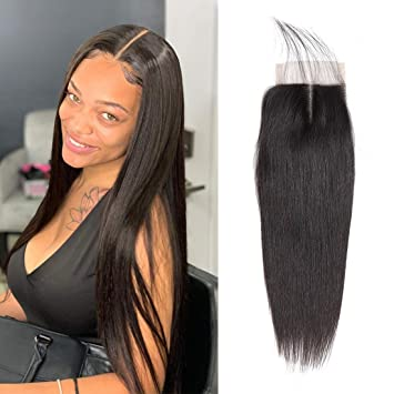 Enerual Beauty Hair closure 5x5 Straight hair lace transparent / medium brown human Brazilian - LUXURY FABULOUS COLLECTION