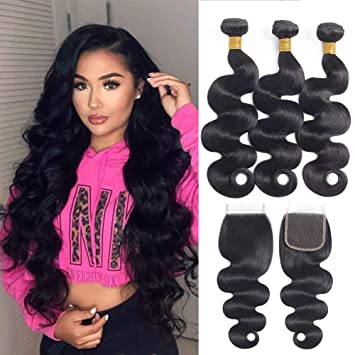 Enerual Beauty Hair Body Wave Bundles With 4x4 Transparent/Medium Brown Lace Closure Brazilian - LUXURY FABULOUS COLLECTION
