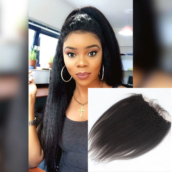 Enerual Beauty Hair 13*6 Transparent Lace Frontal Kinky Straight Human Hair Pre Plucked Brazilian - LUXURY FABULOUS COLLECTION
