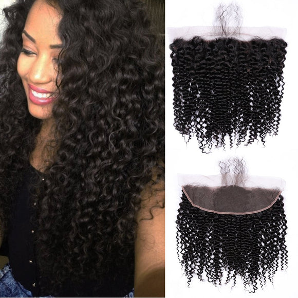 Enerual Beauty Hair 13*6 Transparent Lace Frontal Kinky Curl Human Hair Pre Plucked Brazilian - Enerual Beauty