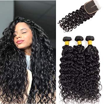 Enerual Beauty Hair  Brazilian Hair 7x7 Lace Closure With Bundles Hair Water wave - LUXURY FABULOUS COLLECTION
