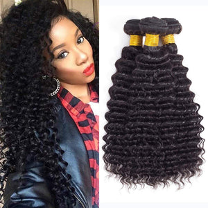 "ENERUAL BEAUTY Brazilian Deep Curl Hair Bundles Natural Color 100% Human Hair 1/3/4 Piece 8-30"" - LUXURY FABULOUS COLLECTION"