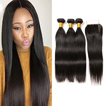 Enerual Beauty Hair Straight 5X5 Transparent Lace Closure/Medium Brown Hair Bundles With Closure - Enerual Beauty